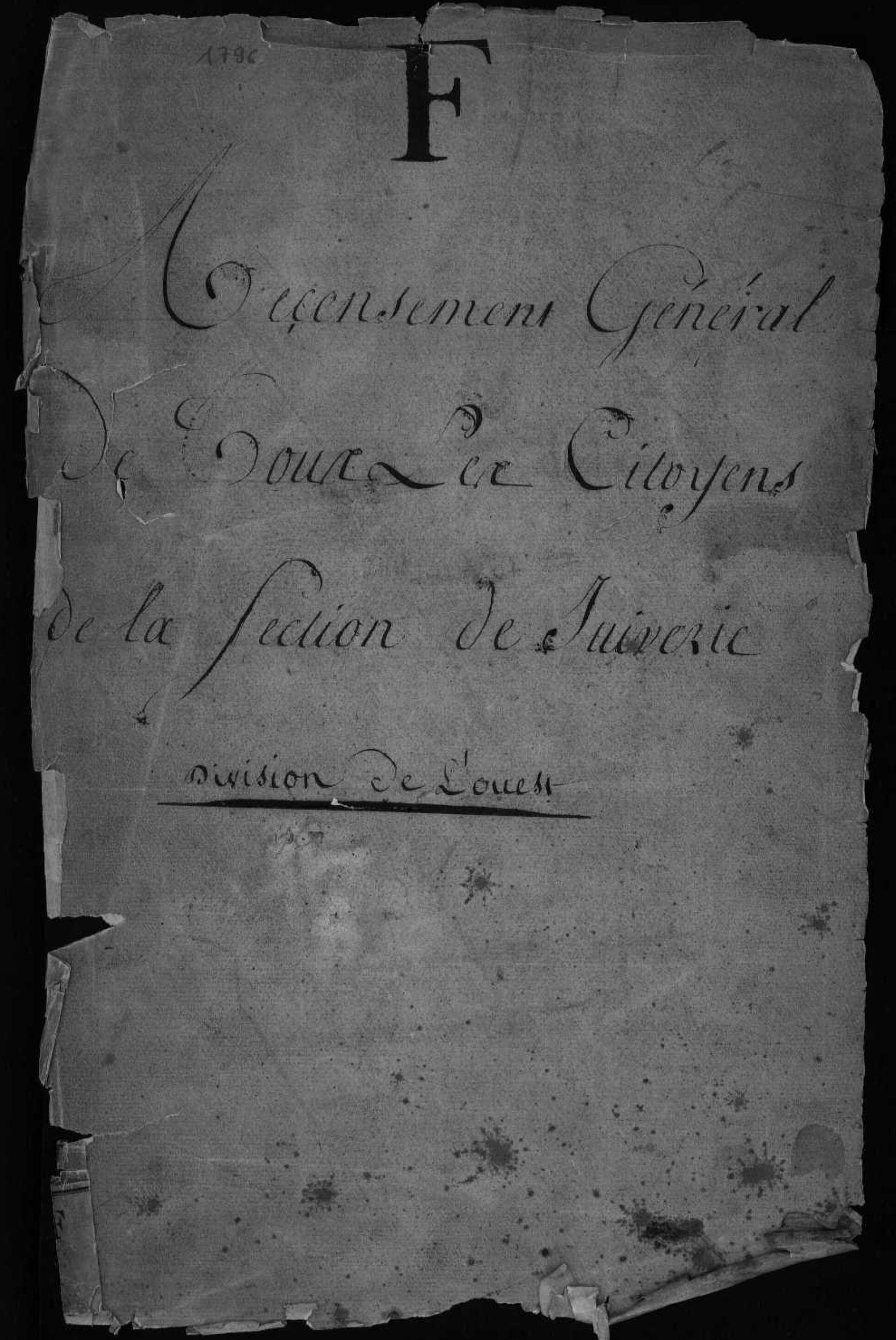 L'ouest de la ville de Lyon dans le recensement de 1796. - ARHOLY
